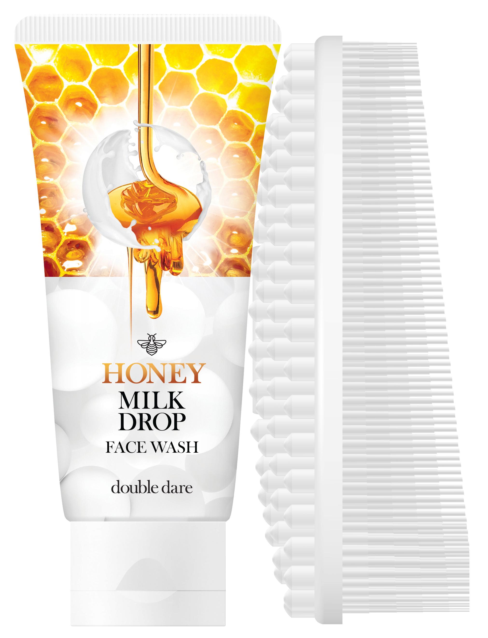 DOUBLE DARE OMG! Набор гель медовый с молочными гранулами для очищения лица + щетка массажная силиконовая, белая / Honey Milk Drop & I.M. BUDDY