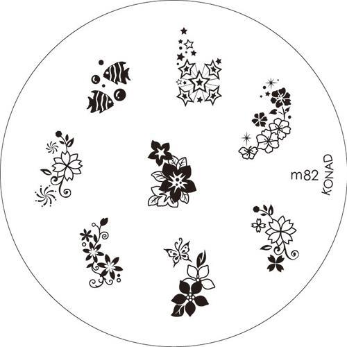 KONAD Форма печатная (диск с рисунками) / image plate M82 10грСтемпинг<br>Диск для стемпинга Конад М82 с рыбками, звездочками и цветочками. Несколько видов изображений, с помощью которых вы сможете создать великолепные рисунки на ногтях, которые очень сложно создать вручную. Активные ингредиенты: сталь. Способ применения: нанесите специальный лак&amp;nbsp;на рисунок, снимите излишки скрайпером, перенесите рисунок сначала на штампик, а затем на ноготь и Ваш дизайн готов! Не переставайте удивлять себя и близких красотой и оригинальностью своего маникюра!<br>