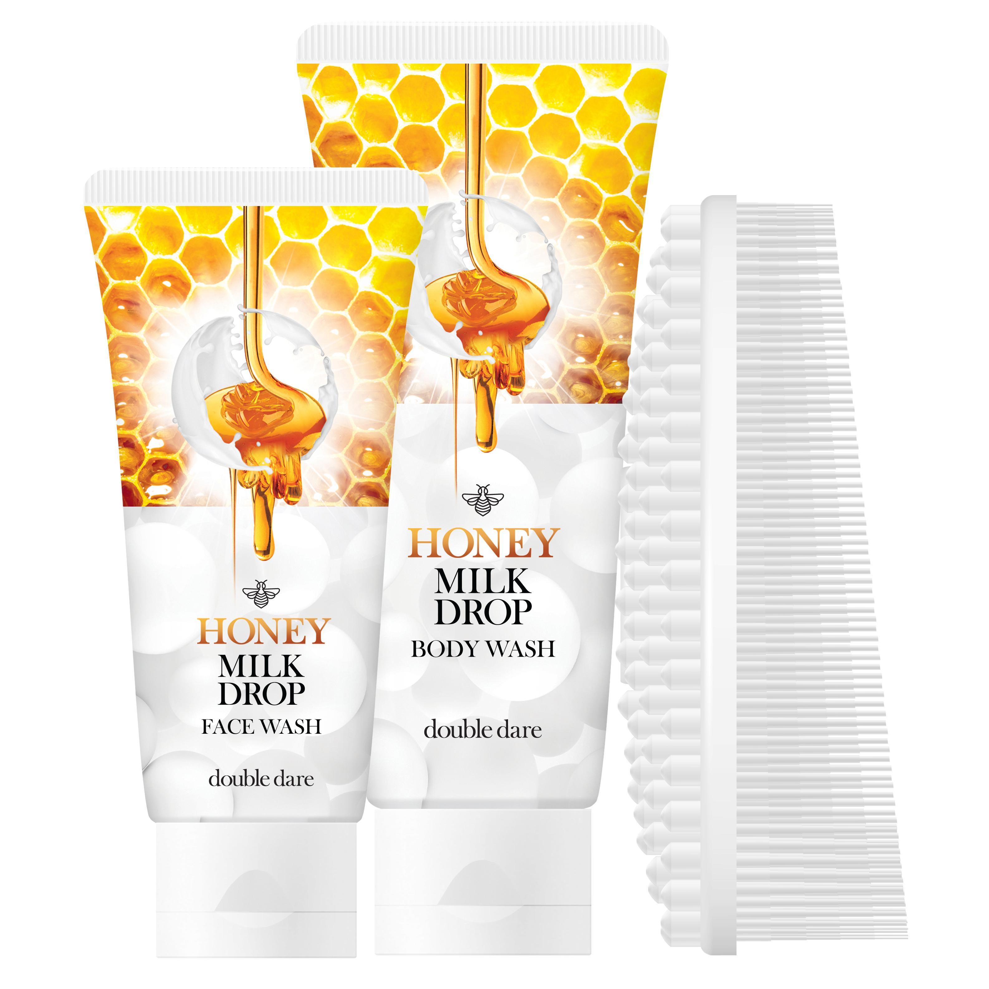 DOUBLE DARE OMG! Набор два медовых геля с молочными гранулами для очищения лица и тела + щетка массажная силиконовая, белая / Honey Milk Drop & I.M. BUDDY