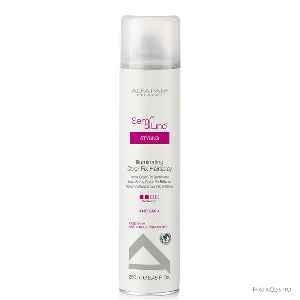 ALFAPARF MILANO Лак для стойкости цвета придающий блеск / ILLUMINATING COLOR FIX HAIRSPRAY 250млЛаки<br>Не содержит газ. Лак для волос средней фиксации, разработанный специально для окрашенных волос, придает безупречное сияние надолго. Экстракт льна, обогащенный насыщенными жирными кислотами омега-3 и омега-6, придает невероятный блеск и разглаживает фибру волос. Специальный фильтр защищает окрашенные волосы и усиливает насыщенность и яркость их цвета. Способ применения:&amp;nbsp;распылить средство на сухие волосы на расстоянии 25 30 см.<br><br>Объем: 250 мл