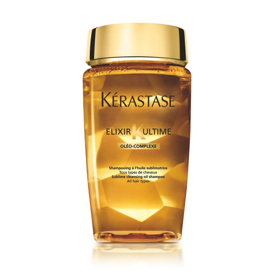 KERASTASE Шампунь для красоты всех типов волос / ELIXIR ULTIME 250млШампуни<br>Шампунь предназначен для всех типов волос. Первый шампунь-ванна на основе масел для бережного очищения и глубокого ухода без эффекта утяжеления. от K rastase. Чувственная текстура, прикосновение роскоши, переливающийся блеск. Активные ингредиенты: ОЛЕО КОМПЛЕКС: сочетание четырех ценнейших масел   Масло Pracaxi: восстановление материи волос   Аргановое масло: защита от иссушения   Масло Камелии: совершенный блеск   Масло Кукурузных зерен:интенсивное питание Способ применения: нанесите на влажные волосы. Массирующими движениями распределите средство, тщательно смойте. При необходимости повторить.<br><br>Вид средства для волос: Аргановое<br>Типы волос: Для всех типов