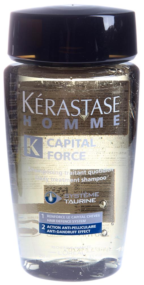 KERASTASE Шампунь от перхоти Капитал Форс / HOMME 250млВолосы<br>Сохраняет и укрепляет массу волос. Эффективно избавляет волосы от перхоти. Освежает и очищает кожу головы. Волосы чистые, блестящие и легкие. Активные ингредиенты: SYST ME TAURINE - Система Таурин. 1. Сохраняет массу волос. 2. Очищение от перхоти. Способ применения: нанесите на влажные волосы. Массирующими движениями распределите средство, тщательно смойте. При необходимости повторить.<br><br>Объем: 250<br>Пол: Мужской