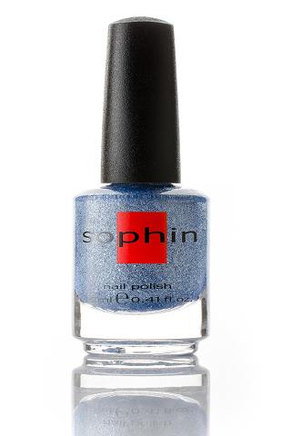 SOPHIN Лак для ногтей, серебристо-голубой с добавлением глиттерных гексов 12мл