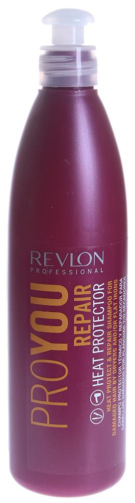 REVLON Шампунь термозащитный восстанавливающий / PROYOU HEAT PROTECTION 350млШампуни<br>Шампунь для волос термозащитный восстанавливающий Proyou Repair Heat Protection является средством для лечения и защиты поврежденных волос. Натуральные ингредиенты обеспечивают интенсивное лечение волос. Происходит регенерация и укрепление кутикулы волоса. Наряду с лечением, шампунь придает шелковистость и сияние волосам.  Активные ингредиенты: Экстракты сои и пшеничных белков.  Способ применения: Шампунь наносится на влажные волосы, вспенивается и смывается водой. При необходимости процедура повторяется.<br><br>Типы волос: Поврежденные