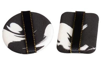 Набор спонжей двухцветных с ленточкой, 01 черно-белые 2 шт