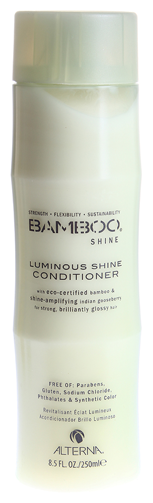 ALTERNA Кондиционер для сияния и блеска волос / BAMBOO SHINE 250млКондиционеры<br>Кондиционер для блеска волос с экстрактом бамбука наполняет каждую прядь Ваших волос необходимыми питательными и жизненно важными элементами. Кондиционер отлично увлажняет волосы, придает им здоровый вид и насыщает их ослепительным блеском. После регулярного применения кондиционера с экстрактом бамбука, Ваши волосы станут мягкими и шелковистыми, приобретут здоровый блеск и будут насыщены необходимыми питательными и увлажняющими элементами. Технология Color Hold позволяет сохранить яркость и насыщенность цвета окрашенных волос. Активные ингредиенты: экстракт бамбука. Способ применения: нанесите кондиционер на мокрые волосы и кожу головы. Выполните легкий массаж и вспените. Выдержите на волосах в течении 3-5 минут и затем тщательно смойте водой.<br>