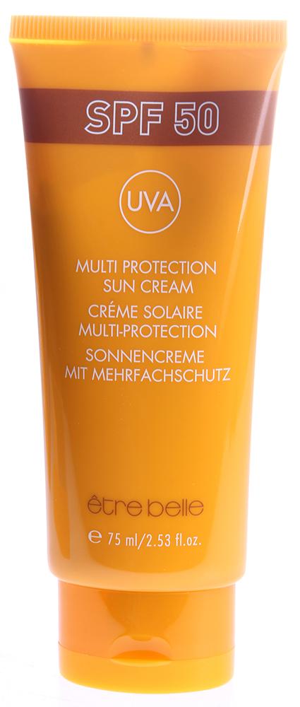 ETRE BELLE Крем мультизащитный с SPF50 75млКремы<br>Несмотря на высокую степень защиты, этот крем имеет лёгкую текстуру, быстро впитывается и подходит для чувствительной кожи. Крем обеспечивает надёжную защиту клеток кожи от UV-лучей. Крем способен предотвратить гиперпигментацию. В состав крема входят активные увлажняющие компоненты, которые поддерживают уровень влажности, ухаживая за кожей даже во время принятия солнечных ванн. Крем является профилактикой рака кожи. Показание: для любого типа кожи, особенно чувствительной. Активные вещества: пантенол, пшеничный протеин, молочная кислота, серин, мочевина, аллантоин. Способ применения: Нанести на очищенную кожу легкими массирующими движениями.<br><br>Объем: 75<br>Вид средства для лица: Защитный<br>Типы кожи: Чувствительная