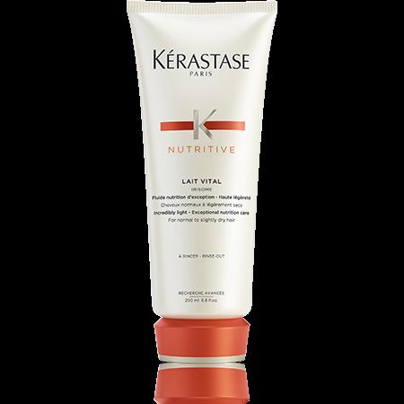 KERASTASE Молочко для нормальных и слегка сухих волос питание и легкая текстура / НУТРИТИВ 200млМолочко<br>Волосы мягкие, гладкие и блестящие; сохраняют ощущение легкости. Активные ингредиенты: Gluco-Active 1 Dosage. Глюкоза+Белки+Липиды 1100 частей на миллион Наша первая питательная процедура с использованием активной глюкозы для комплексного питания.   Глюкоза: Дает заряд энергии.   Белки: Питают волосы и оставляют ощущение мягкости.   Липиды: Защищают волосы от пересушивания и укрепляют природные защитные механизмы. Способ применения: рекомендованный шампунь-ванна: Bain Satin 1.   Нанесите средство Vital на подсушенные полотенцем волосы, обрабатывая их прядь за прядью.   Оставьте на несколько минут.   Тщательно смойте.<br>
