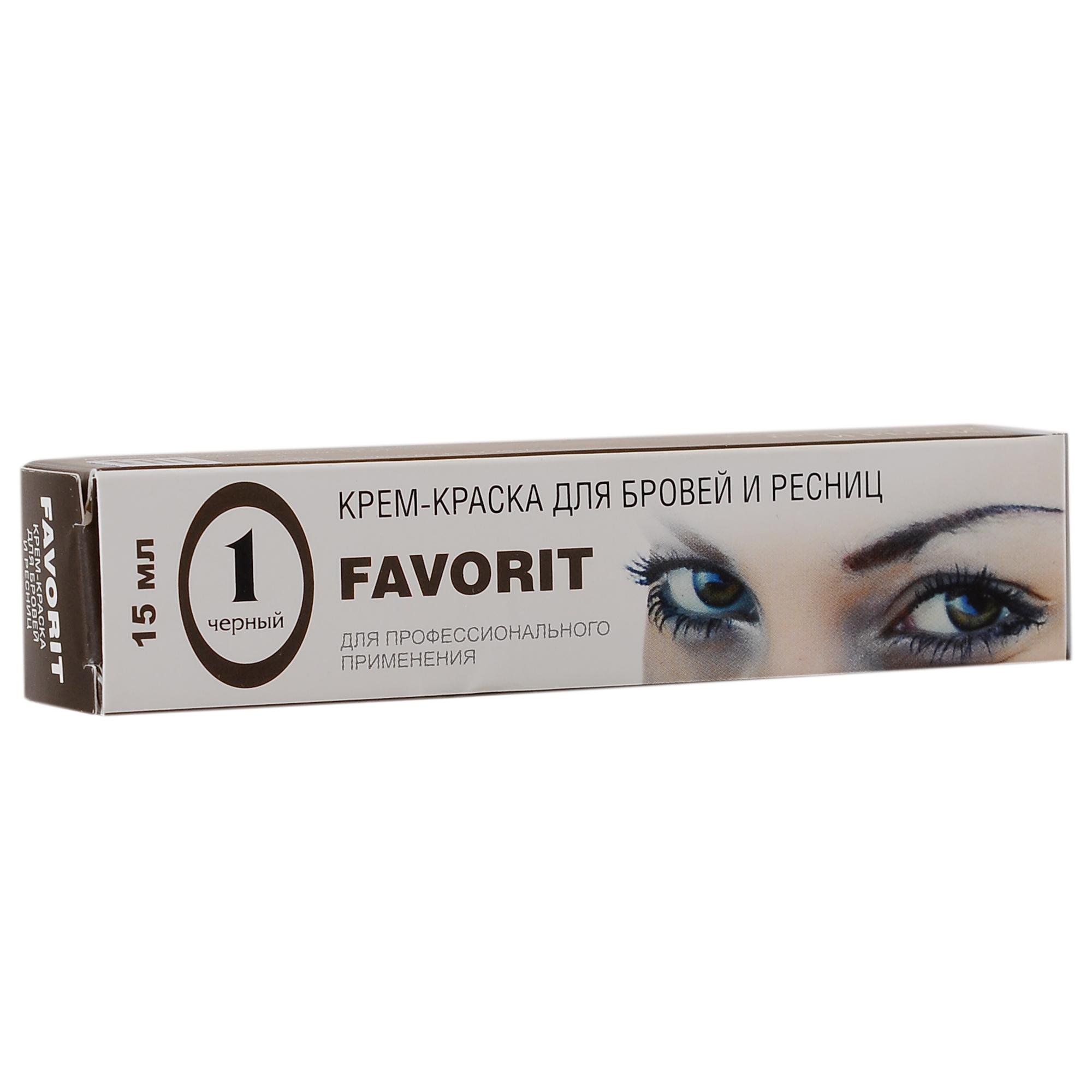 FARMAVITA Краска для бровей и ресниц черная / FAVORIT 15 млКраски для бровей<br>Брови и ресницы, окрашенные крем-краской FAVORIT выглядят более яркими, привлекательными и объемными по всей длине. Окраска бровей и ресниц избавляет от ежедневной необходимости красить глаза и брови, а также от подведения и поправки макияжа в течение дня. Оттенок   1 черный: окрашивает каждый волосок в насыщенный черный цвет Преимущества: Простота и экономичность в использовании: тюбика 15 мл хватает на 30 применений 100% закрашивание седины&amp;nbsp; Короткое время воздействия - от 5 до 10 минут&amp;nbsp; Стойкие и красивые цвета&amp;nbsp; Безопасность&amp;nbsp; Доступная цена&amp;nbsp; Цвет держится до 6 недель.&amp;nbsp;Наилучший результат достигается при регулярном окрашивании, потому что с каждой процедурой красящие пигменты глубже проникают в структуру ресниц, делая цвет более стойким и ярким.<br><br>Объем: 15 мл
