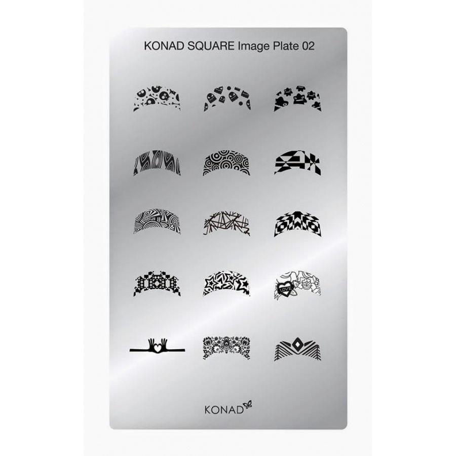 KONAD Пластина прямоугольная / Square Image Plate02 30грСтемпинг<br>Новый трафарет для стемпинга от Конад! На пластине-трафарете Konad Square Image Plate 02 содержится 15 оригинальных рисунков французского маникюра. Пластина содержит рисунки, которых нет на круглых дисках. Активные ингредиенты: сталь Способ применения: нанесите специальный лак&amp;nbsp;на рисунок, снимите излишки скрайпером, перенесите рисунок сначала на штампик, а затем на ноготь и Ваш дизайн готов! Не переставайте удивлять себя и близких красотой и оригинальностью своего маникюра!<br>