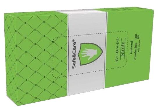 Купить SAFE & CARE Перчатки нитриловые, зеленые (зеленое яблоко), размер М / Safe & Care 100 шт