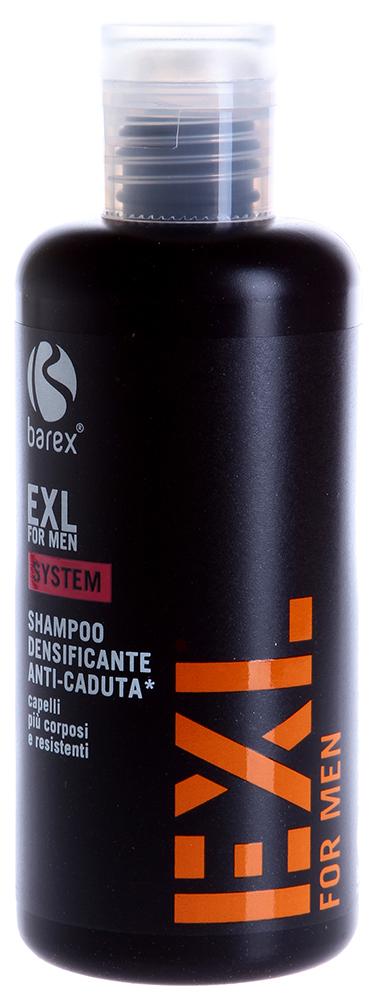 BAREX Шампунь против выпадения волос с эффектом уплотнения / EXL FOR MEN 250млВолосы<br>Деликатно очищает кожу головы, придает объем и силу волосам. Стимулирует рост волос путем регенерации клеток эпидермиса и волосяных фолликулов. Волосы приобретают упругость, эластичность и объем. Активные компоненты: Растительные стволовые клетки &amp;ndash; регенерируют волосяные фолликулы и питают волос в его &amp;laquo;центре роста&amp;raquo;. Экстракт африканского перца &amp;ndash; придает энергию и жизненную силу коже головы. Протеины киноа &amp;ndash; оказывают защитный и интенсивный восстанавливающий эффект. Обволакивают волокна волоса невидимой пленкой, которая защищает его от негативного влияния внешней среды. Киноа - зерновая культура, растущая на экстремальных высотах, богата витаминами и минералами. Экстракт кофе &amp;ndash; борется со свободными радикалами, оказывает антиоксидантное и противовозрастное действие. Применение: Нанести небольшое количество продукта на влажные волосы и провести деликатный массаж в течение нескольких минут для лучшего усвоения активных ингредиентов, далее смыть водой. Использовать не реже 2 раз в неделю.<br><br>Объем: 250<br>Пол: Мужской