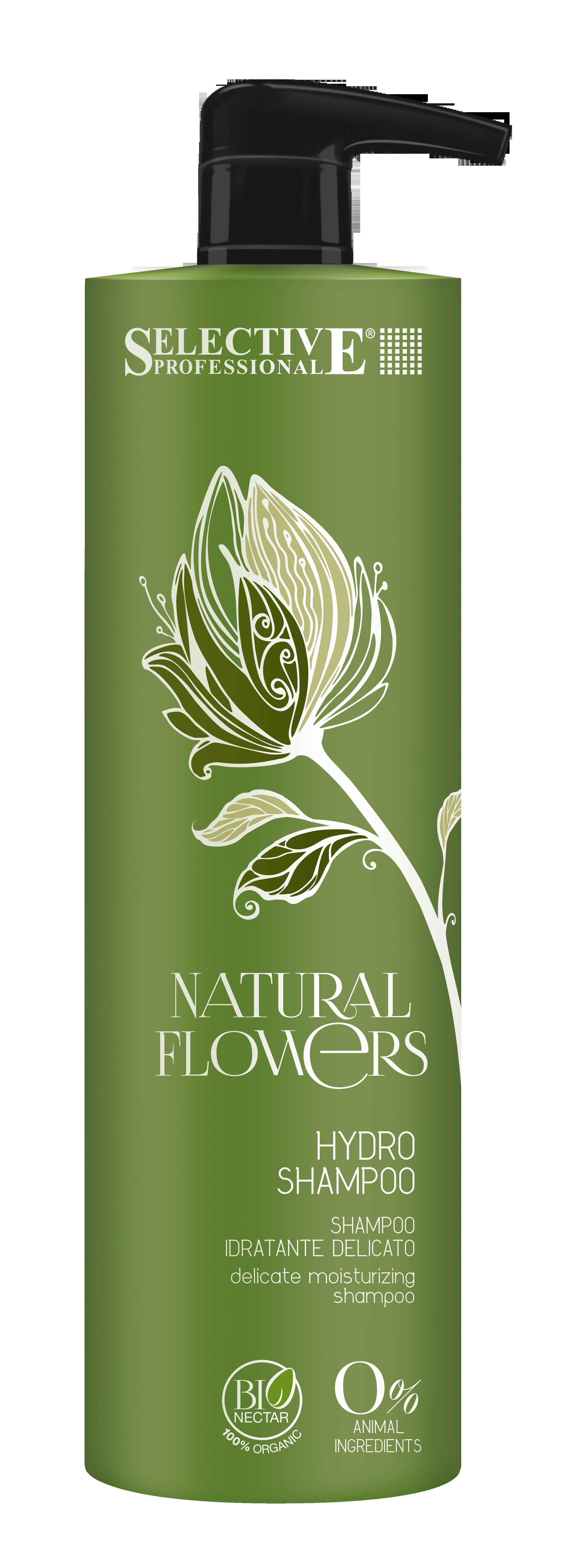 SELECTIVE PROFESSIONAL Шампунь-аква для частого применения / Hydro Shampoo Natural Flowers 1000млШампуни<br>Увлажняющий шампунь мягкого действия для частого применения. Идеально подходит для всех типов волос. Шампунь не содержит SLES (лауретсульфата натрия). Благодаря ингредиентам, обладающим исключительно мягким и щадящим действием, увлажняет, тонизирует, придает волосам объем и блеск. Активные ингредиенты: состав обогащен биологически чистым экстрактом арники и бионектаром - эксклюзивной натуральной смесью целебных растительных комплексов. Способ применения: распределите шампунь по влажным волосам и помассируйте голову. Тщательно смойте. При необходимости повторите процедур, после чего нанесите подходящее для ваших волос средство для ухода.<br><br>Пол: Женский<br>Класс косметики: Натуральная<br>Типы волос: Для всех типов<br>Время применения: Ежедневный