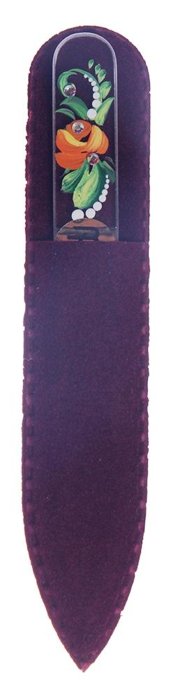 BOHEMIA PROFESSIONAL Пилочка стеклянная прозрачная с рисунком и кристаллами 90ммПилки для ногтей<br>Нет ничего лучше для натуральных ногтей, чем пилка из богемского хрусталя. Данный материал имеет практически неограниченный срок использования. Пилки Bohemia Professional имеют наиболее стойкий абразив. Пилка из богемского хрусталя также может стать стильным аксессуаром или красивым подарком. Bohemia Professional представляет Вам огромный выбор прозрачных и цветных пилок с декором: ручная роспись, декорация стразами, пилки с логотипом, и полноцветные изображения. Инструмент можно стерилизовать и обрабатывать химическими дезинфекторами, антисептиками.<br>