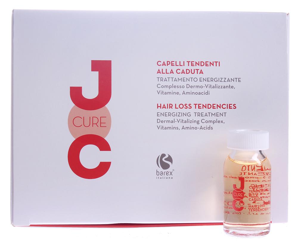 BAREX Терапия интенсивная с Биоактивным комплексом против выпадения волос / JOC CURE 12*12млАмпулы<br>Оказывает ударное воздействие на кожу головы, укрепляя корни волос, восстанавливая кровообращение и нормализуя жизненный цикл волос. Волосы становятся более сильными, прекращается их патологическое выпадение, стимулируется рост новых волос. Стимулирующий биоактивный комплекс (витализирующий комплекс): комбинация активных натуральных компонентов, улучшающих микроциркуляцию крови, предотвращающих атрофию фолликула и клеточное старение. Витамины: мультивитаминный комплекс обладает питательными свойствами, необходимыми для нормального клеточного метаболизма. Аминокислоты серы: доставляют необходимые элементы для синтеза кератина. Активные ингредиенты: стимулирующий биоактивный комплекс (витализирующий комплекс), витамины, аминокислоты серы. Способ применения: нанести содержимое 1 ампулы на волосы после применения шампуня, затем мягко помассировать круговыми движениями. Не смывать. Наилучший эффект достигается при регулярном использовании 2-3 раза в неделю на протяжении 8 недель и в сочетании с ШАМПУНЕМ ПРОТИВ ВЫПАДЕНИЯ ВОЛОС JOC CURE.<br><br>Вид средства для волос: Стимулирующий<br>Назначение: Выпадение