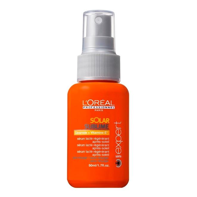 LOREAL PROFESSIONNEL Молочко-спрей солнцезащитный для волос Соляр Сублим 125мл~Молочко<br>Восстанавливающее молочко-сыворотка обеспечивает волосам быстрое восстановление после воздействия солнца и влаги. Средство активно питает волосы и препятствует их пересыханию, поддерживая необходимый водный баланс. Важные достоинства сыворотки &amp;ndash; длительный эффект и удобство в использовании. Кроме того, она дарит волосам блеск, мягкость и делает их более послушными.  Активные ингредиенты: Керамиды, витамин Е, глицерол, УФ-фильтры.  Способ применения: Распылить на подсушенные вымытые волосы, распределить по всей длине   от корней до кончиков. Не смывать.<br>