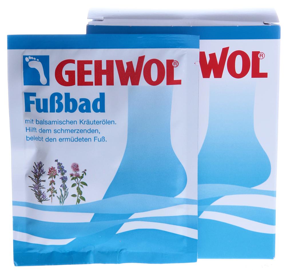 GEHWOL Ванна для ног 10*20грВанны для ног<br>Ванна для уставших ног, глубоко проникающая и очищающая поры кожы. Эффективно размягчает загрубевшую кожу, натоптыши и мозоли, делая более эффективным их удаление пемзой после купания. Активные ингредиенты в составе ванны смягчают сухую кожу и дезодорирует её. Средство содержит натуральные эфирные масла из лаванды, розмарина и тимьяна, которые стимулируют кровообращение и на продолжительное время придают ногам ощущение теплоты. Применение: 1 ложку средства (примерно 20 г.) или 1 порционный пакетик растворить в 4 л. теплой воды и купать в пенящейся, светло-голубой, ароматной ванне ноги в течение 15-20 минут. Для размягчения особенно сильно загрубевшей кожи и мозолей рекомендуется брать двойное количество средства и купать ноги более продолжительное время. В качестве дополнительных ухаживающих за ногами средств рекомендуется использовать дезодорант или бальзам для ног по проблеме фирмы  Геволь . Для лечения мозолей и трещин рекомендуется  Мазь от трещин  и  Мозольный пластырь  фирмы  Геволь . Состав: Sodium Carbonate, Water (Aqua), Disodium Laureth Sulfosuccinate, Sodium Laurethl Sulfate, Peg-6 Caprylic/Capric Glycerides, Rosemary (Rosmarinus Officinalis) Oil, Cocamide Dea, Laureth-2, Propylene Glycol, Lavender (Lavandula Angustifolia) Oil, Thyme (Thymus Vulgaris) Oil, Thymol, Eucalyptus (Eucalyptus Globulus) Oil, Camphor, Pine (Pinus) Oil, Fragrance (Parfum), C.I. 74 160.<br><br>Объем: 200