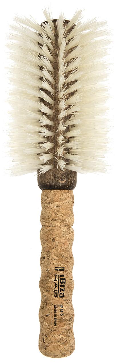 IBIZA HAIR Щетка круглая для укладки волос, осветленная щетина, диаметр 80 мм (пробка) - Брашинги