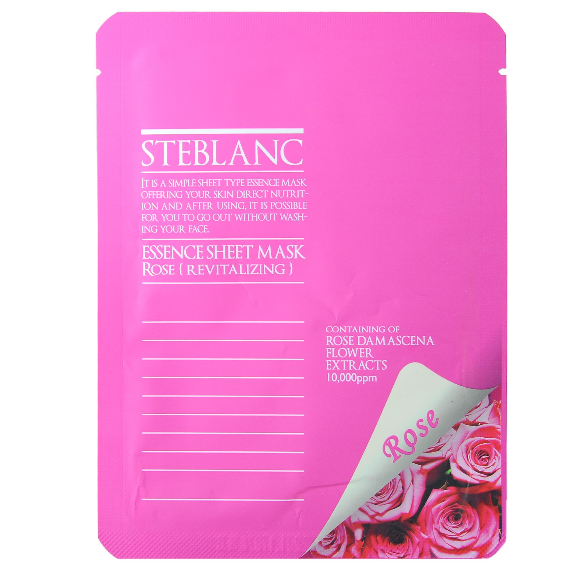 STEBLANC Маска омолаживающая с экстрактом цветов Дамасской розы для лица / ESSENCE SHEET MASK 20гр