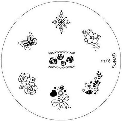 KONAD Форма печатная (диск с рисунками) / image plate M76 10грСтемпинг<br>Диск для стемпинга Конад М76 с превосходными нежными узорами из цветов, бантиков и сердечек. Несколько видов изображений, с помощью которых вы сможете создать великолепные рисунки на ногтях, которые очень сложно создать вручную. Активные ингредиенты: сталь. Способ применения: нанесите специальный лак&amp;nbsp;на рисунок, снимите излишки скрайпером, перенесите рисунок сначала на штампик, а затем на ноготь и Ваш дизайн готов! Не переставайте удивлять себя и близких красотой и оригинальностью своего маникюра!<br>