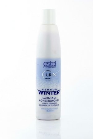 ESTEL PROFESSIONAL Бальзам - кондиционер для волос защита и питание / Curex Versus Winter 250млБальзамы<br>Бальзам-кондиционер для всех типов волос защита и питание питает и увлажняет волосы, сохраняет естественный гидробаланс. Восстанавливает структуру ломких и пересушенных волос. Защищает волосы от стресса при перепаде температур. Содержит катионные производные протеина, хорошо кондиционирует волосы, делает их гладкими и шелковистыми. Обладает антистатическим эффектом. Активные ингредиенты: Катионные производные протеина. Способ применения: Нанести на чистые влажные волосы, равномерно распределить по всей длине. Через несколько минут смыть водой.<br><br>Тип: Бальзам-кондиционер<br>Объем: 250мл