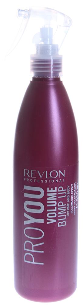 REVLON Спрей для объема волос / PROYOU VOLUME 350млСпреи<br>Спрей для объема, придает объем тонким и слабым волосам, фиксирует и приподнимает корни, облегчая использование брашинга. Придает мягкую и стойкую фиксацию и блеск волосам. Защищает волос во время сушки феном. Степень фиксации - 4.  Способ применения: Распределить на влажные волосы, разделить на 2-3 секции, поочередно нанести средство. Распылять спрей на корни, распутать волосы, высушить.<br><br>Вид средства для волос: Стойкая