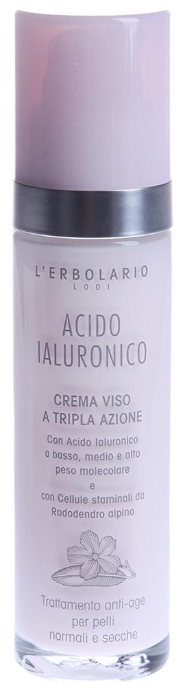 LERBOLARIO Крем с гиалуроновой кислотой для нормальной и сухой кожи лица 50 млКремы<br>Гиалуроновая кислота является ценным ингредиентом антивозрастных косметических средств, благодаря способности удерживать влагу в коже. Крем с гиалуроновой кислотой от Erbolario помогает коже сохранить свежесть и гладкость, защитная пленка, которую образует гиалуроновая кислота предотвращает обезвоживание кожи, но позволяет коже дышать. При регулярном применении крема с гиалуроновой кислотой повышается упругость кожи и разглаживаются морщины, повышается выработка коллагена, который предотвращает увядание кожи. Входящее в состав крема масло гибискуса прекрасно смягчает и питает сухую и чувствительную кожу.  Способ применения: Крем с гиалуроновой кислотой можно применять утром и вечером. Наносить на очищенную кожу лица, шеи и декольте. Для достижения лучших результатов рекомендуется перед применением крема использовать Гель с гиалуроновой кислотой от Lerbolario.<br><br>Возраст применения: После 25<br>Назначение: Морщины