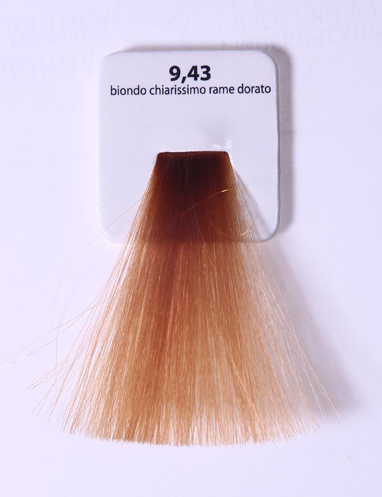 KAARAL 9.43 краска для волос / Sense COLOURS 100млКраски<br>9.43 очень светлый золотистый блондин Перманентные красители. Классический перманентный краситель бизнес класса. Обладает высокой покрывающей способностью. Содержит алоэ вера, оказывающее мощное увлажняющее действие, кокосовое масло для дополнительной защиты волос и кожи головы от агрессивного воздействия химических агентов красителя и провитамин В5 для поддержания внутренней структуры волоса. При соблюдении правильной технологии окрашивания гарантировано 100% окрашивание седых волос. Палитра включает 93 классических оттенка. Способ применения: Приготовление: смешивается с окислителем OXI Plus 6, 10, 20, 30 или 40 Vol в пропорции 1:1 (60 г красителя + 60 г окислителя). Суперосветляющие оттенки смешиваются с окислителями OXI Plus 40 Vol в пропорции 1:2. Для тонирования волос краситель используется с окислителем OXI Plus 6Vol в различных пропорциях в зависимости от желаемого результата. Нанесение: провести тест на чувствительность. Для предотвращения окрашивания кожи при работе с темными оттенками перед нанесением красителя обработать краевую линию роста волос защитным кремом Вaco. ПЕРВИЧНОЕ ОКРАШИВАНИЕ Нанести краситель сначала по длине волос и на кончики, отступив 1-2 см от прикорневой части волос, затем нанести состав на прикорневую часть. ВТОРИЧНОЕ ОКРАШИВАНИЕ Нанести состав сначала на прикорневую часть волос. Затем для обновления цвета ранее окрашенных волос нанести безаммиачный краситель Easy Soft. Время выдержки: 35 минут. Корректоры Sense. Используются для коррекции цвета, усиления яркости оттенков, создания новых цветовых нюансов, а также для нейтрализации нежелательных оттенков по законам хроматического круга. Содержат аммиак и могут использоваться самостоятельно. Оттенки: T-AG - серебристо-серый, T-M - фиолетовый, T-B - синий, T-RO - красный, T-D - золотистый, 0.00 - нейтральный. Способ применения: для усиления или коррекции цвета волос от 2 до 6 уровней цвета корректоры добавляются в краситель по 