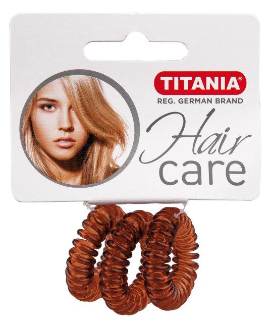 TITANIA Резинки для волос, коричневые пружина 2,5 см 3 шт/уп 7915