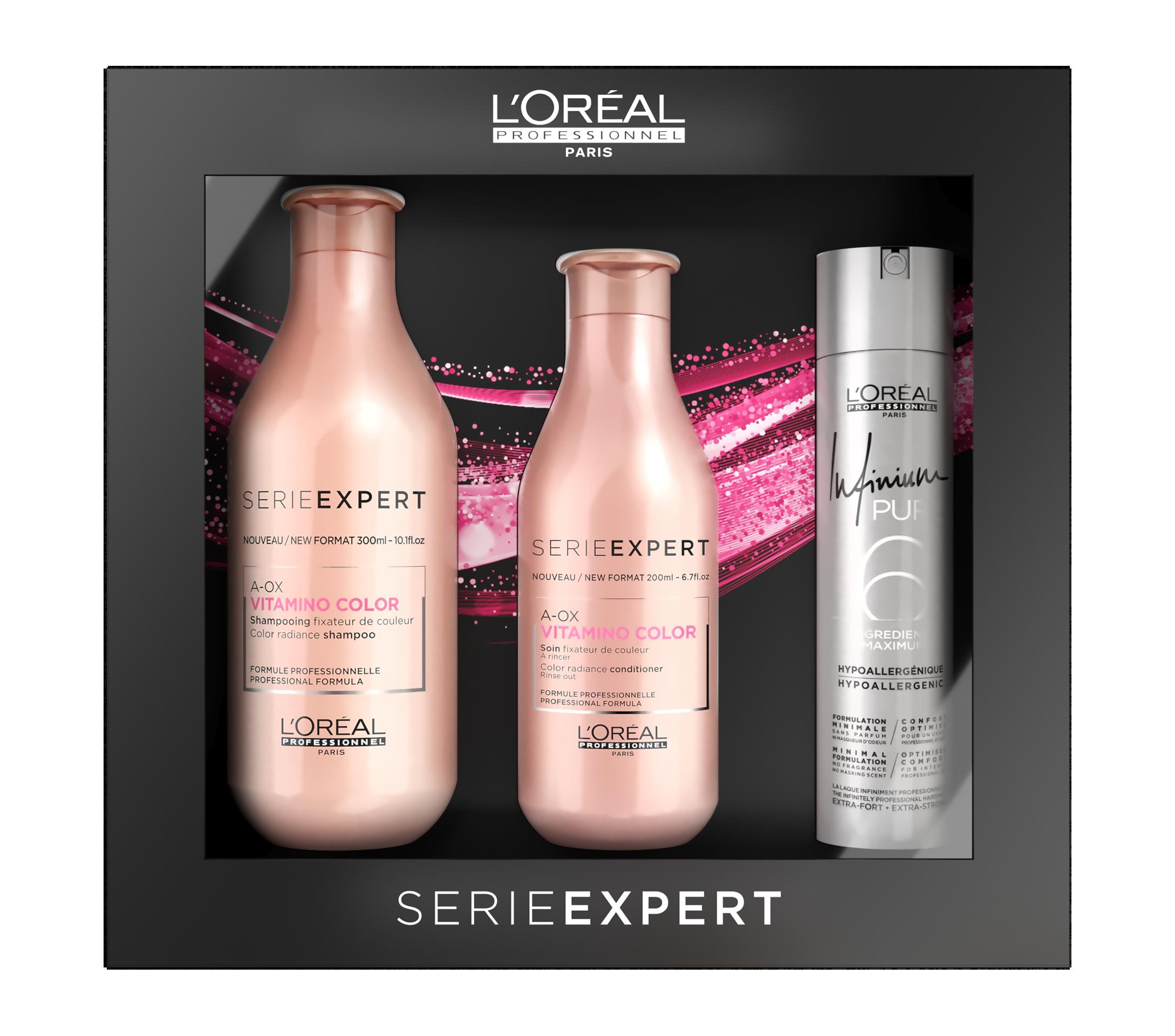 Купить LOREAL PROFESSIONNEL Набор новогодний для волос Витамино 2018 (шампунь 300 мл, кондиционер 200 мл + лак для волос) Serie Expert Vitamino Color