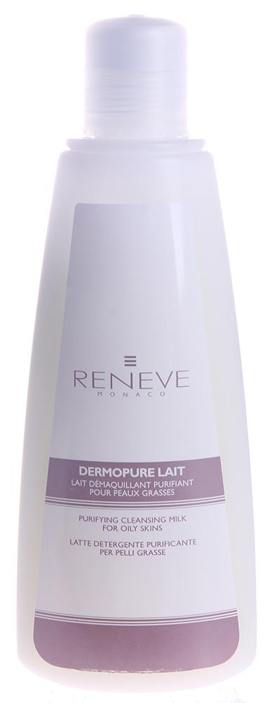 RENEVE Молочко очищающее для жирной кожи / Dermopure Lait 200 млМолочко<br>Очищающее молочко идеально подходит для комбинированного и жирного типов кожи. Превосходно удаляет макияж, в т.ч. и макияж глаз. Очищает кожу, отшелушивает, освежает и восстанавливает. Дарит приятное ощущение чистоты. Для ежедневного использования! Активные ингредиенты: экстракт ананаса содержит бромелаин &amp;ndash; энзим, способный расщеплять протеиновые соединения. Особенно рекомендуется для утолщенной кожи. Совместно с алантоином дает антивоспалительный, ранозаживляющий и увлажняющий эффект. Способ применения: выполнить демакияж глаз, затем небольшое количество эмульсии нанести на лицо, шею и декольте, помассировать круговыми движениями, после чего смыть теплой водой или снять компрессом.<br><br>Вид средства для лица: Увлажняющий