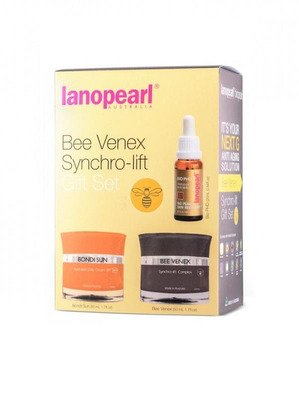 LANOPEARL Набор для лица Синхро-лифтинг (солнцезащитный крем 50 мл, крем синхро-лифтинг 50 мл, сыворотка лифтинг-эффект 25 мл) / Bee Venex