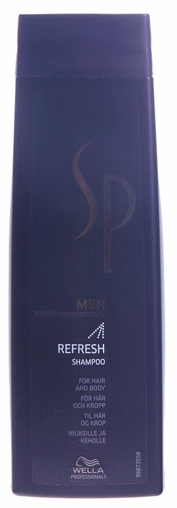WELLA Шампунь освежающий для волос и тела / SP Men Refresh shampoo 250млВолосы<br>Освежающий шампунь Refresh Shampoo оказывает интенсивное освежающее и охлаждающее действие на волосы, придает бодрость для активного начала дня. Шампунь дарит волосам необходимый объем, обеспечивая максимально эффективное кондиционирование и быстро насыщая волосы и кожу головы приятной прохладой. Освежающая энергия севера, подпитываемая ментолом, придаст вам энергии на целый день.  Активные ингредиенты: Ментол, витамины.  Способ применения: Равномерно распределите шампунь на влажных волосах и коже головы. Вспеньте и тщательно смойте.<br>