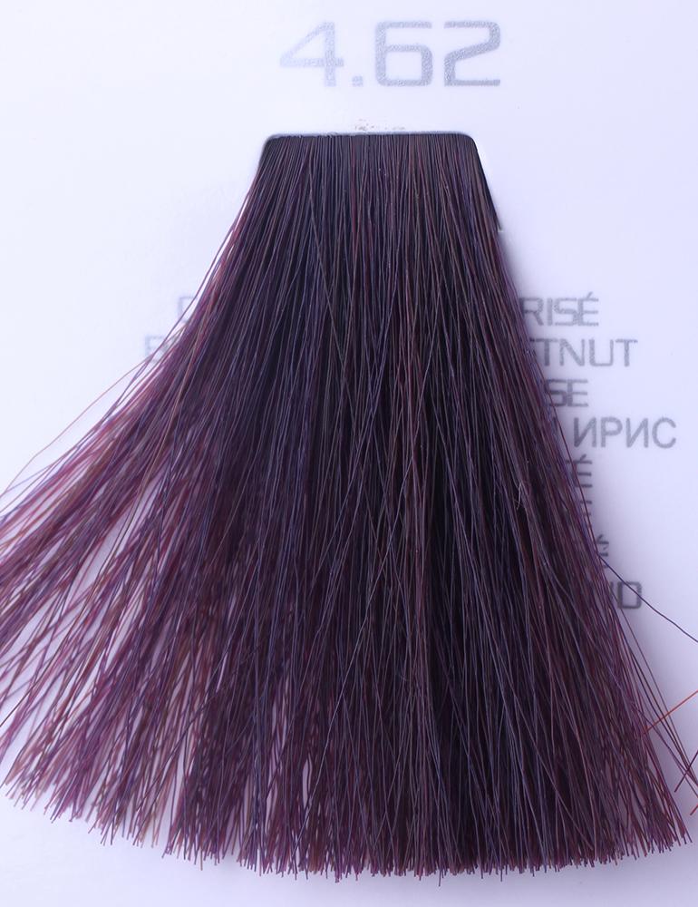 HAIR COMPANY 4.62 краска для волос / HAIR LIGHT CREMA COLORANTE 100млКраски<br>4.62 каштановый красный ирисHair Light Crema Colorante   профессиональный перманентный краситель для волос, содержащий в своем составе натуральные ингредиенты и в особенности эксклюзивный мультивитаминный восстанавливающий комплекс. Минимальное количество аммиака позволяет максимально бережно относится к структуре волоса во время окрашивания. Содержит в себе растительные экстракты вытяжку из арахиса, лецитин, витамин А и Е, а так же витамин С который является природным консервантом цвета. Применение исключительно активных ингредиентов и пигментов высокого качества гарантируют получение однородного, насыщенного, интенсивного и искрящегося оттенка. Великолепно дает возможность на 100% закрасить даже стекловидную седину. Наличие 6-ти микстонов, а так же нейтрального бесцветного микстона, позволяет достигать получения цветов и оттенков. Способ применения: смешать Hair Light Crema Colorante с Hair Light Emulsione Ossidante в пропорции 1:1,5. Время воздействия 30-45 мин.<br><br>Цвет: Красный и фиолетовый<br>Вид средства для волос: Восстанавливающий<br>Класс косметики: Профессиональная