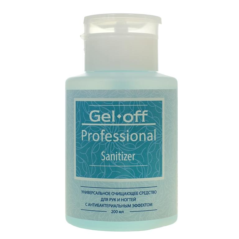GEL-OFF Средство универсальное очищающее для рук и ногтей с антибактериальным эффектом, с помпой / Gel Off Professional Sanitizer 200 мл
