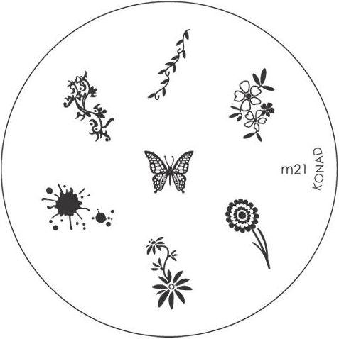 KONAD Форма печатная (диск с рисунками) / image plate M21 10грСтемпинг<br>Диск для стемпинга Конад М21 с изображениями кляксы, бабочки и цветочков. Несколько видов изображений, с помощью которых вы сможете создать великолепные рисунки на ногтях, которые очень сложно создать вручную. Активные ингредиенты: сталь. Способ применения: нанесите специальный лак&amp;nbsp;на рисунок, снимите излишки скрайпером, перенесите рисунок сначала на штампик, а затем на ноготь и Ваш дизайн готов! Не переставайте удивлять себя и близких красотой и оригинальностью своего маникюра!<br>