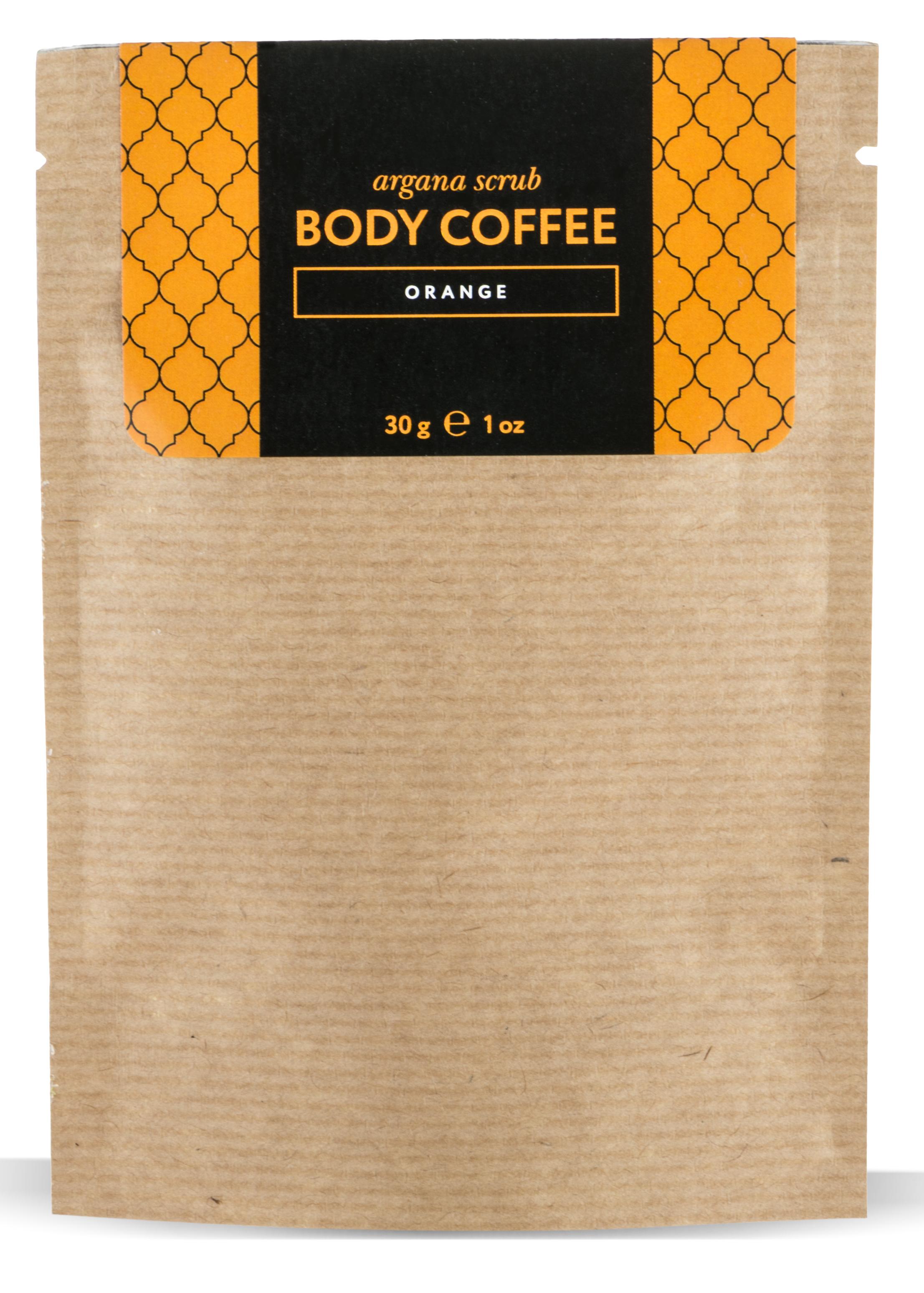 HUILARGAN Скраб аргановый кофейный для тела, апельсин 30 г