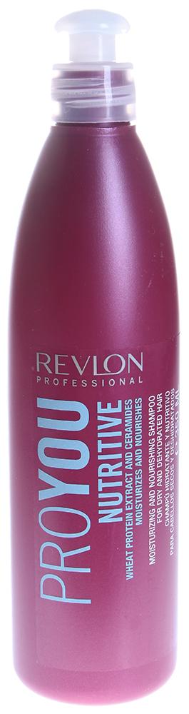 REVLON Шампунь увлажняющий и питательный для волос / PROYOU NUTRITIVE 350млШампуни<br>Шампунь для волос увлажняющий и питательный Proyou Nutritive является прекрасным средством для очищения, питания и увлажнения всех типов волос. Волосы насыщаются витаминами, которые содержатся в составе шампуня. Кутикула уплотняется и восстанавливается. Волосы защищены от обезвоживания за счет укрепления гидролипидной пленки.  Активные ингредиенты: Экстракт пшеницы, натрий PCA, пантенол, пшеничный экстракт, керамид 3.  Способ применения: Нанесите небольшое количество шампуня на влажные волосы. Помассируйте голову и волосы несколько минут, тщательно распределяя шампунь, затем смойте водой.<br><br>Типы волос: Для всех типов