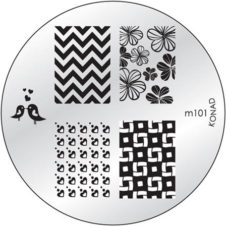 KONAD Форма печатная (диск с рисунками) / image plate M101 10грСтемпинг<br>Диск для стемпинга Конад М101 с изображениями влюбленных птичек, полей сердечек и лютиков. Несколько видов изображений, с помощью которых вы сможете создать великолепные рисунки на ногтях, которые очень сложно создать вручную. Активные ингредиенты: сталь. Способ применения: нанесите специальный лак&amp;nbsp;на рисунок, снимите излишки скрайпером, перенесите рисунок сначала на штампик, а затем на ноготь и Ваш дизайн готов! Не переставайте удивлять себя и близких красотой и оригинальностью своего маникюра!<br>