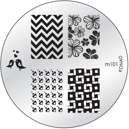 KONAD Форма печатная (диск с рисунками) / image plate M101 10гр декор для маникюра konad печатная форма диск image plate m102