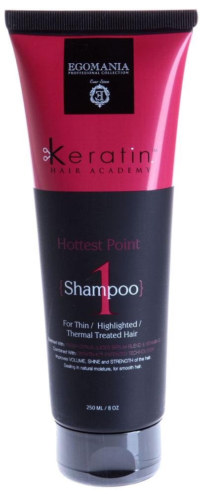 EGOMANIA Шампунь для тонких, мелированных, химически завитых волос На пике красоты! / KERATIN 250мл