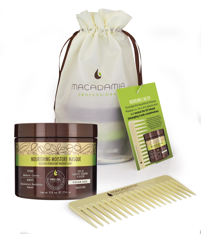 MACADAMIA PROFESSIONAL Набор Питание и уход для всех типов волос (маска питательная 236мл + гребень)