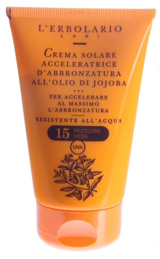 LERBOLARIO Крем для быстрого загара с маслом хохобы SPF15 125 млКремы<br>Крем для быстрого загара с маслом хохобы SPF 15 - уникальное средство для уходы за кожей и быстрого красивого загара при минимальном пребывании на солнце.Благодаря содержанию ускорителя загара растительного происхождения, крем естественным образом стимулирует выработку пигмента меланина. Средство рекомендуется применять до начала отдыха, тогда на пляже вы уже сразу увидите результат. Масла жожоба и Оливковое невероятно бережно ухаживают за кожей, смягчают ее и увлажняют. При применении крема в конце отдыха, эффект загара закрепится.  Активные ингредиенты: Масло хохобы, эфиры воска жожоба, неомыляемая фракция оливкового масла, комплекс для ускорения загара.  Способ применения: Наносить на кожу тела примерно по 6 чайных ложек несколько раз в день за неделю до принятия солнечных ванн и во время пребывания на пляже.<br><br>Защита от солнца: None