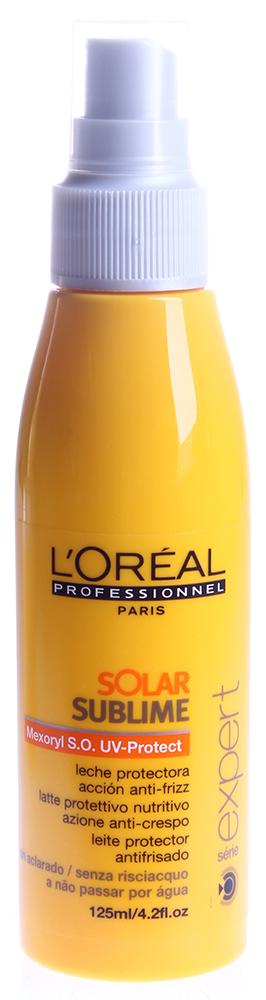 LOREAL PROFESSIONNEL Спрей для волос солнцезащитный / Соляр Сублим 125млСпреи<br>Для того чтобы пребывание на солнце запомнилось вам только в позитивном ключе, следует позаботиться о безопасности своих волос. Что может быть проще &amp;ndash; достаточно просто захватить с собой на пляж солнцезащитный спрей от Лореаль. Средство создает активную пленку вокруг каждого волоса, так что ультрафиолет не нанесет вашим локонам никакого вреда. Спрей от L&amp;rsquo;Oreal действует долго и надежно, а также придает волосам блеск. После применения защитного спрея от Лореаль волосы становятся ярче, блестят и легко укладываются. Активный состав: УФ-фильтры, витамин Е. Применение: Нанесите небольшое количество спрея от L Oreal на влажные или сухие волосы до и во время пребывания на пляже. Не смывайте.<br><br>Объем: 125<br>Вид средства для волос: Солнцезащитный<br>Типы волос: Сухие