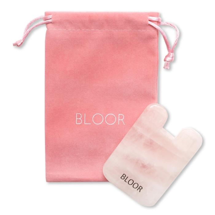 BLOOR Скребок гуаша для массажа лица из натурального розового кварца, домик