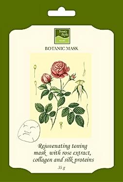 BEAUTY STYLE Маска ботаническая тонизирующая с экстрактом розы, коллагеном и протеинами шелкаМаски<br>Маска для всех типов кожи, преимущественно обезвоженной, тонкой, со сниженным тонусом и возрастными изменениями. Действие: Придает лицу ровный и красивый цвет, тонизирует сосуды, устраняет следы усталости. Активные ингредиенты: экстракт лепестков розы, морской коллаген, протеины шелка, D-пантенол (провитамин В5), пропиленгликоль, потассиум сорбат, очищенный глицерин, аллантоин, циклометикон, диметикон, триэтаноламин, вода.<br><br>Типы кожи: Сухая и обезвоженная