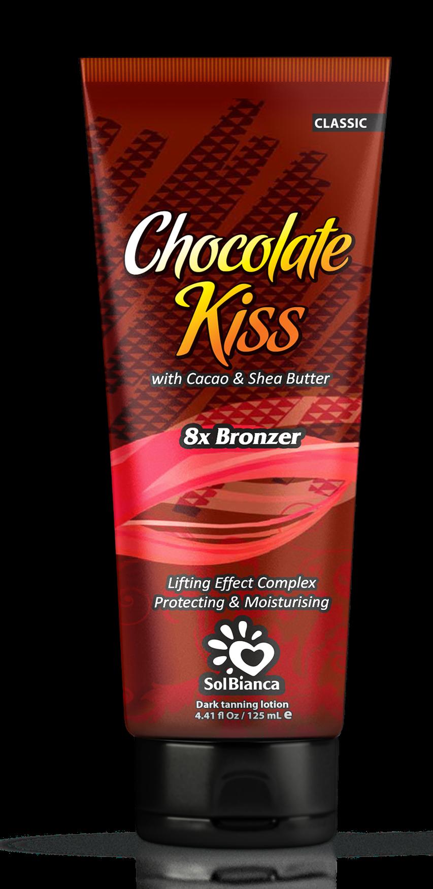 SOLBIANCA Крем для загара в солярии  Chocolate Kiss  с маслом какао, маслом Ши и бронзаторами 125 млКремы<br>Превосходный крем для загара с маслом какао и маслом ши, является прекрасным сочетанием стойкого ультратемного бронзового загара и моделирующего эффекта. Удовлетворит даже самых требовательных посетителей солярия! Активные ингредиенты: масло какао и масло ши. Состав: (INCI) Aqua, Glycerin, Cetearyl Alcohol, Propylene Glycol, Paraffinum Liquidum, Dihydroxyacetone, Hydrogenated Palm Oil, Dimethicone, Isopropyl Palmitate, Stearyl Alcohol, Ceteareth   6, PEG   100 Stearate, PEG   7 Glyceryl Cocoate, Mannan, Cyclomethicone, Theobromo Cacao Seed Butter, Aloe Barbadensis Extract, Juglans Regia Seedcoat Extract, Phenoxyethanol, Methylparaben (and) Ethylparaben (and) Propylparaben, Glyceryl Stearate, Ceteareth - 20, Ceteareth   12, Cetyl Palmitate, Butyrospermum Parkii Oil, Panthenol, Persea Gratissima Oil, Juglans Regia Seed Oil, PEG   40 Hydrogenated Castor Oil, Parfume, Methylchloroisothiazolinone, Methylisothiazolinone, BHT, Ascorbyl Palmitate, Hippophae Rhamnoides Extract, Citric Acid, Caramel, CI 20285. Способ применения: аккуратными массажными движениями равномерно распределить содержимое по сухой чистой коже. Аккуратно втереть.<br>