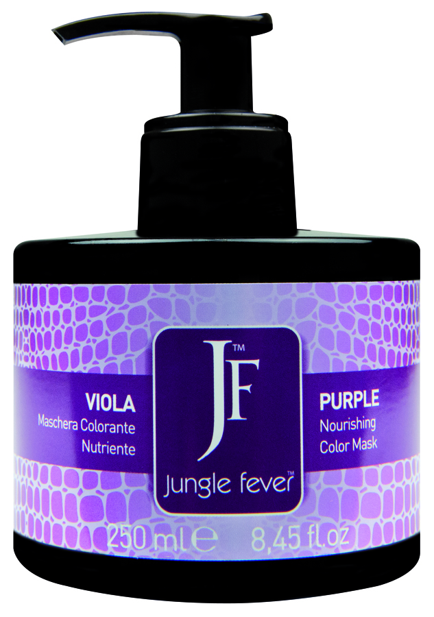JUNGLE FEVER Маска для волос питающая тонирующая, тон пурпурный / Color Mask Purple 250млМаски<br>Уникальная возможность цветопреобразования. Благодаря профессиональной формуле, обогащенной маслом Макадамии и современными кондиционирующими и смягчающими добавками, эти питающие тонирующие маски идеальны для: усиления блеска и легкого изменения цветового направления натуральных или окрашенных волос; поддержания интенсивности цвета между окрашиваниями волос; повышения интенсивности, насыщенности и яркости цвета; питания, увлажнения и кондиционирования структуры волос; создания уникальных индивидуальных цветовых эффектов. Благодаря сочетанию слабокислой реакции среды и технологии Orbicular Direct-Pigment цвет проникает глубоко в структуру волоса, что дает более эффективный и долговременный результат. Полный спектр оттенков существенно расширяет границы творчества. Тонирующие маски Jungle Fever доступны в 9 оттенках, для получения индивидуальных эффектов и необычных цветов оттенки можно смешивать. Интенсивные оттенки: красный, бронзовый, пурпурный. Для оживления и усиления цвета натуральных или окрашенных волос и достижения эффекта уплотнения на блондированных или осветленных волосах. Способ применения: нанести на вымытые с шампунем и подсушенные полотенцем волосы. Не наносите средство на кожу головы. Время выдержки 10-15 мин. Смойте водой, без использования шампуня. При работе используйте одноразовые перчатки. Цвет Маски Серебряный Бежевый Золотой Шоколадный Кофейный Медовый Красный Бронзовый Пурпурный Базовый цвет волос &amp;nbsp; &amp;nbsp; &amp;nbsp; &amp;nbsp; &amp;nbsp; &amp;nbsp; &amp;nbsp; &amp;nbsp; &amp;nbsp; Темный брюнет &amp;nbsp; &amp;nbsp; &amp;nbsp; х &amp;nbsp; &amp;nbsp; х х х Брюнет &amp;nbsp; &amp;nbsp; &amp;nbsp; х &amp;nbsp; &amp;nbsp; х х х Светлый брюнет &amp;nbsp; &amp;nbsp; &amp;nbsp; х х &amp;nbsp; х х х Темный блондин &amp;nbsp; &amp;nbsp; &amp;nbsp; х х х х х х Блондин &amp;nbsp; &amp;nbsp; &amp;nbsp; &amp;nbsp; х х х х х Светлый блодин х х х