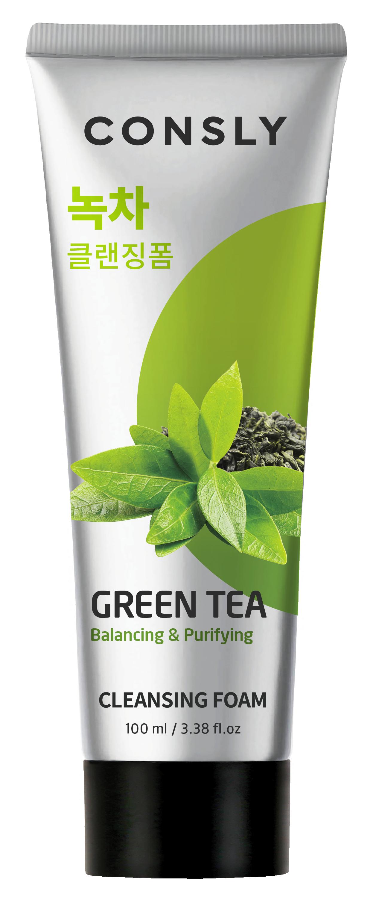 CONSLY Пенка балансирующая кремовая с экстрактом зеленого чая для умывания 100 мл  - Купить