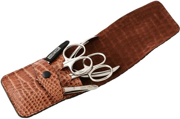 SILVER STAR Набор маникюрный, коричневая кожа, 5 предметов, кнопка